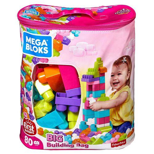 Mega Bloks美高積木first Builders系列80件大塊積木套裝 (粉色)