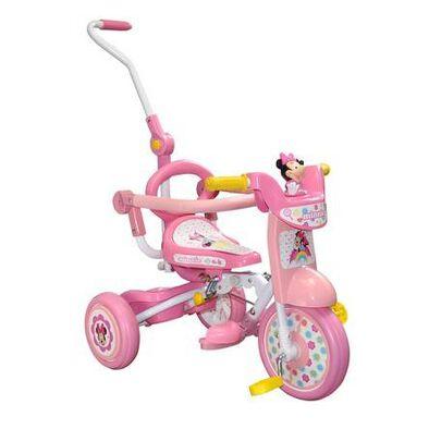 Baby Star 米妮老鼠帶推桿可折疊三輪車
