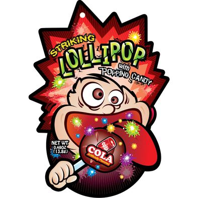 Striking Cola Flavor Lollipop With Popping Candy