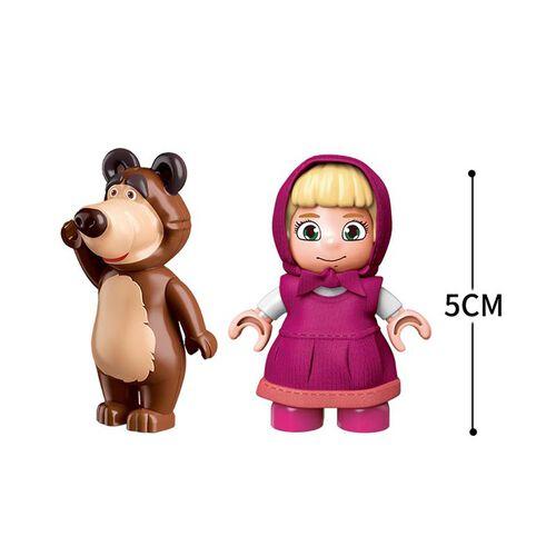Qman Keeppley  瑪莎與熊 火車站情境積木套裝