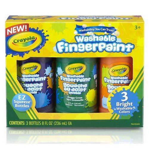 Crayola繪兒樂 3色可水洗手指畫顏料(明亮色)