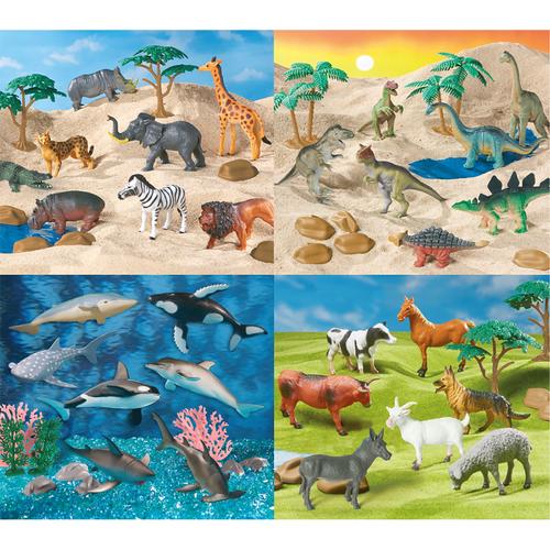 World Animal Collection 四組動物套裝 (恐龍, 森林動物, 農場動物, 海洋動物)