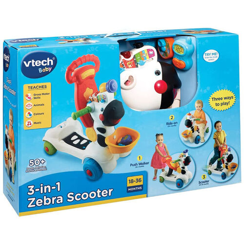 Vtech 3 In 1 Learning Zebra Scooter
