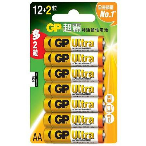 Gp超霸特強鹼性電池 2A 12+2粒咭裝