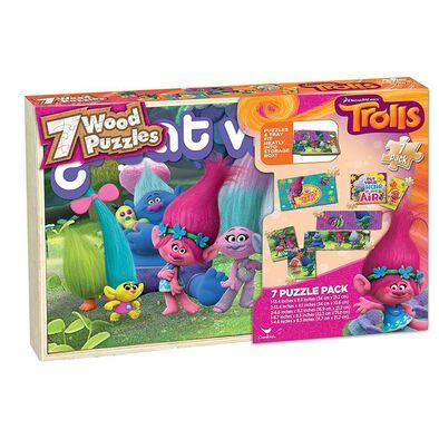 Disney Trolls Wood Puzzle 7 Pack Box