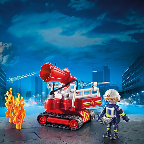 Playmobil摩比世界消防機器人滅火器