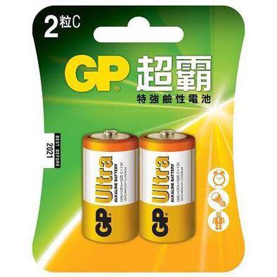 Gp超霸特強鹼性電池 C Size 2粒咭裝