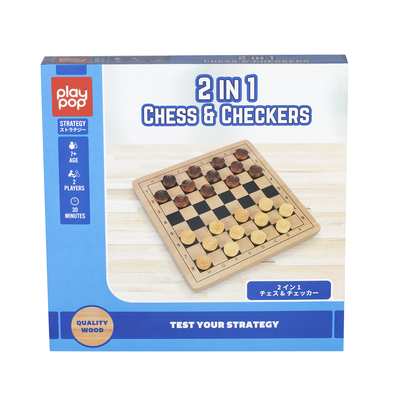 Play Pop 2 In 1 Chess & Checker Strategy Game
